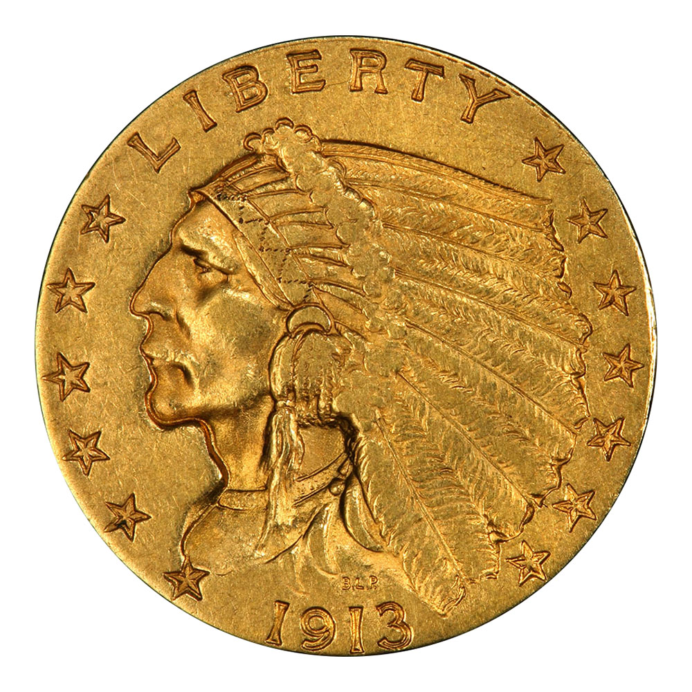 $2.5 Indian Gold Coins Extra Fine