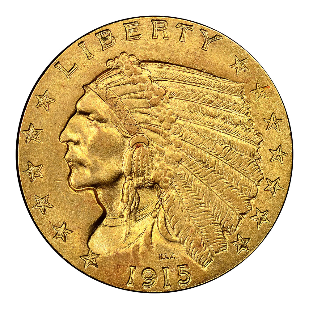 $2.5 Indian Gold Coins Almost Uncirculated
