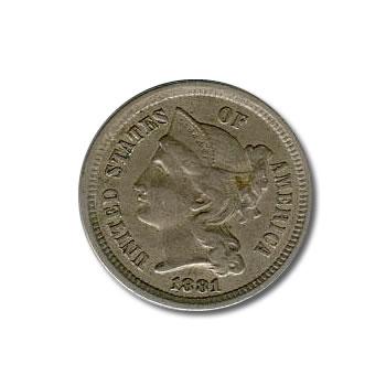 Three Cent Nickels XF