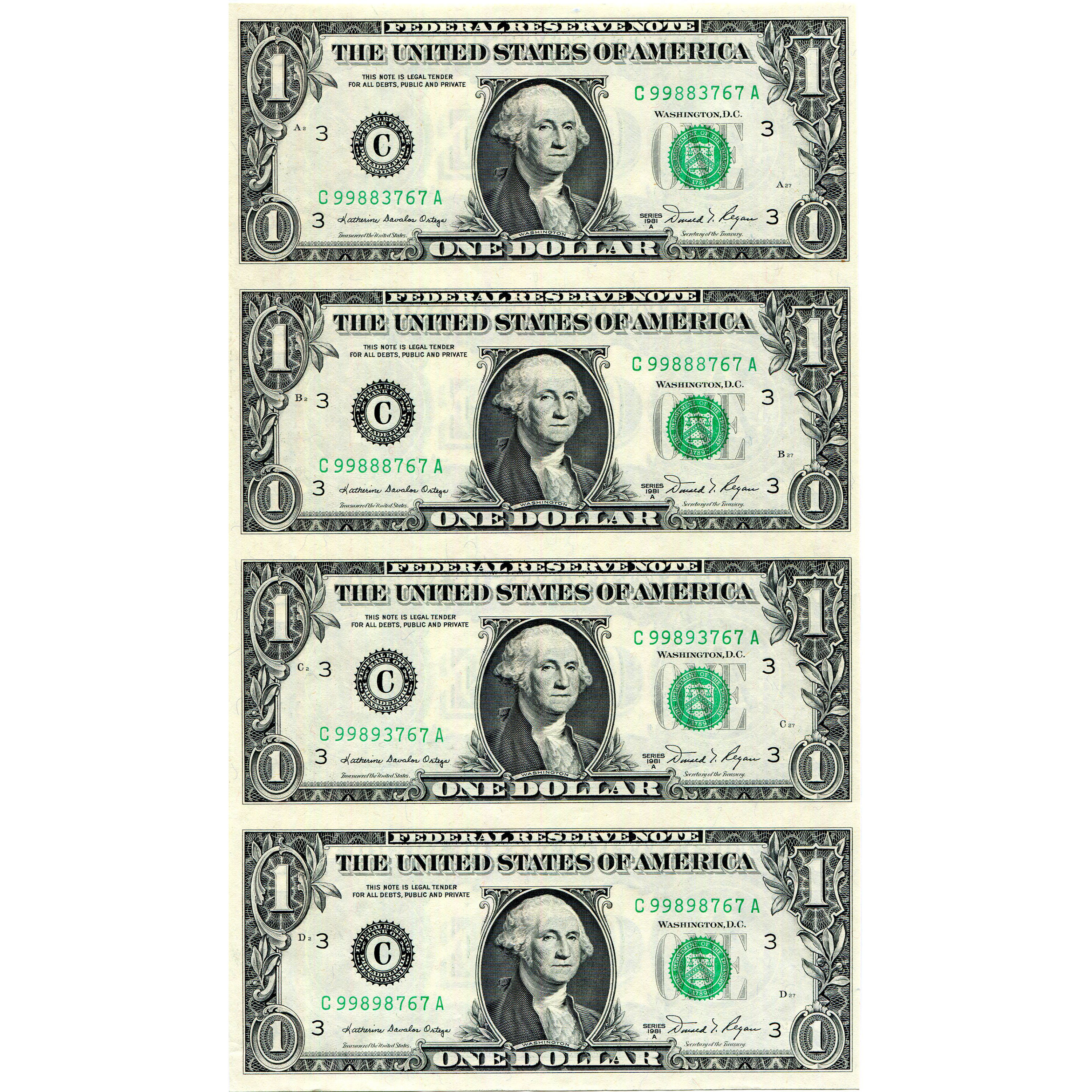 $1 Uncut Currency Sheets
