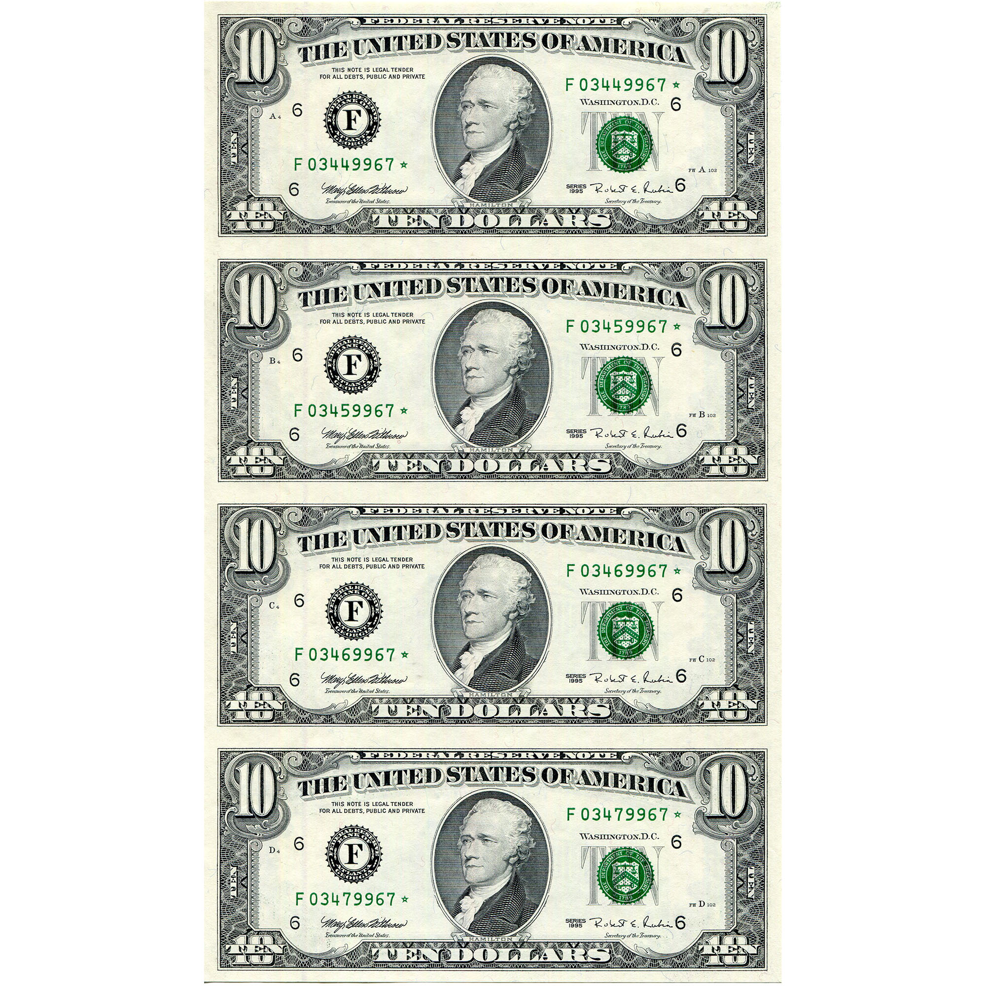 $10 Uncut Currency Sheets