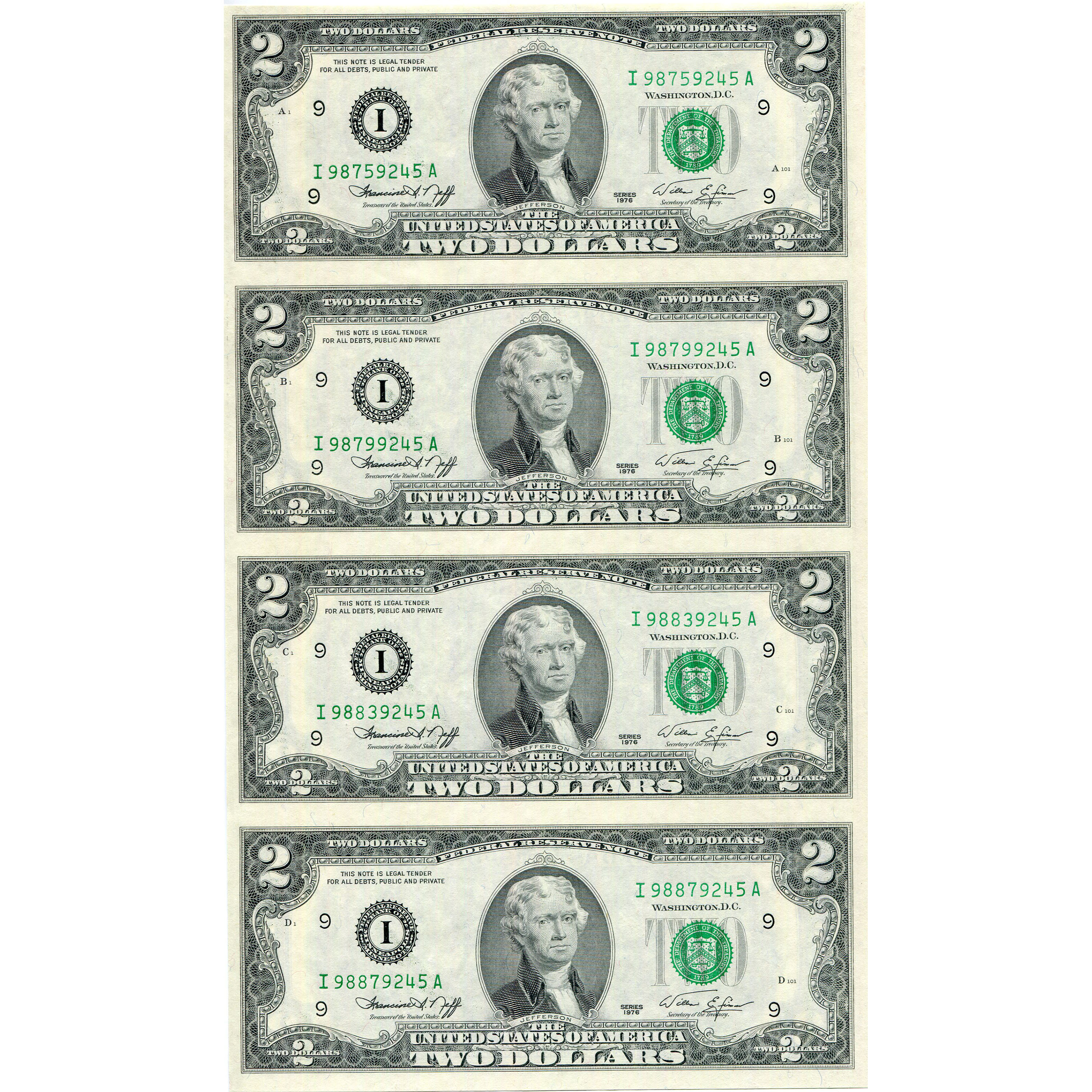 $2 Uncut Currency Sheets