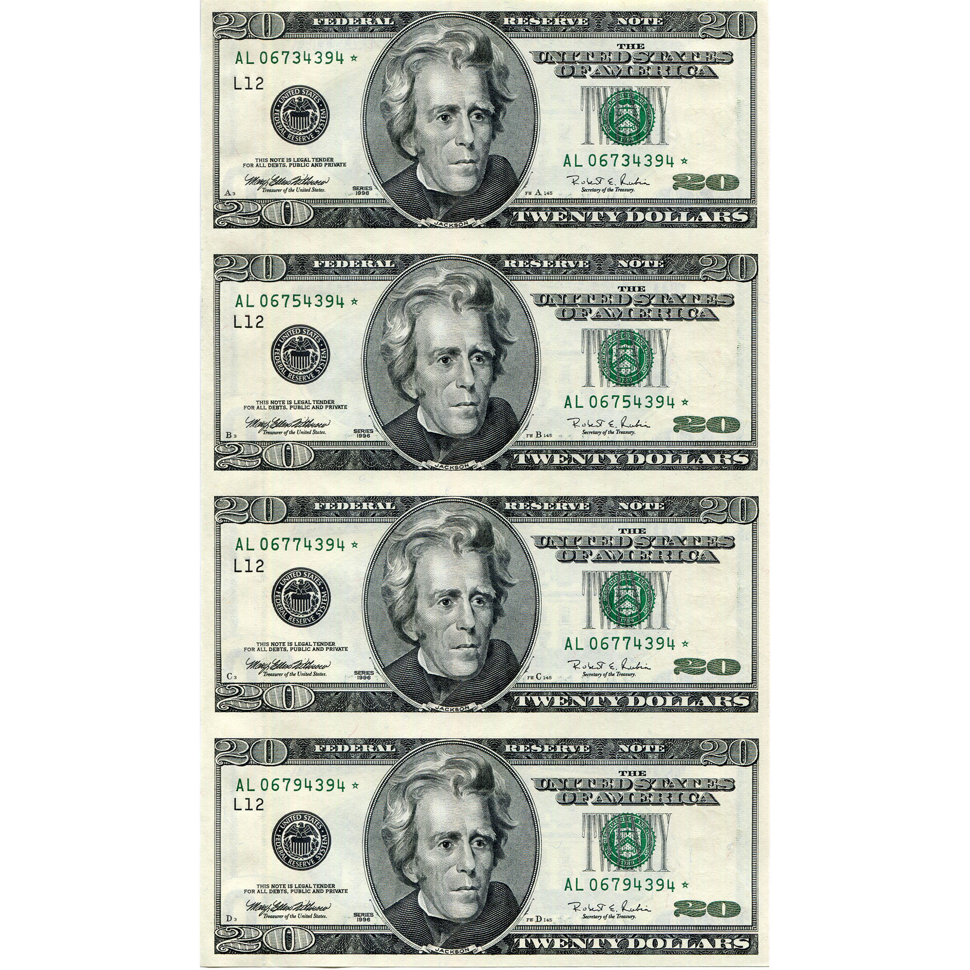$20 Uncut Currency Sheets