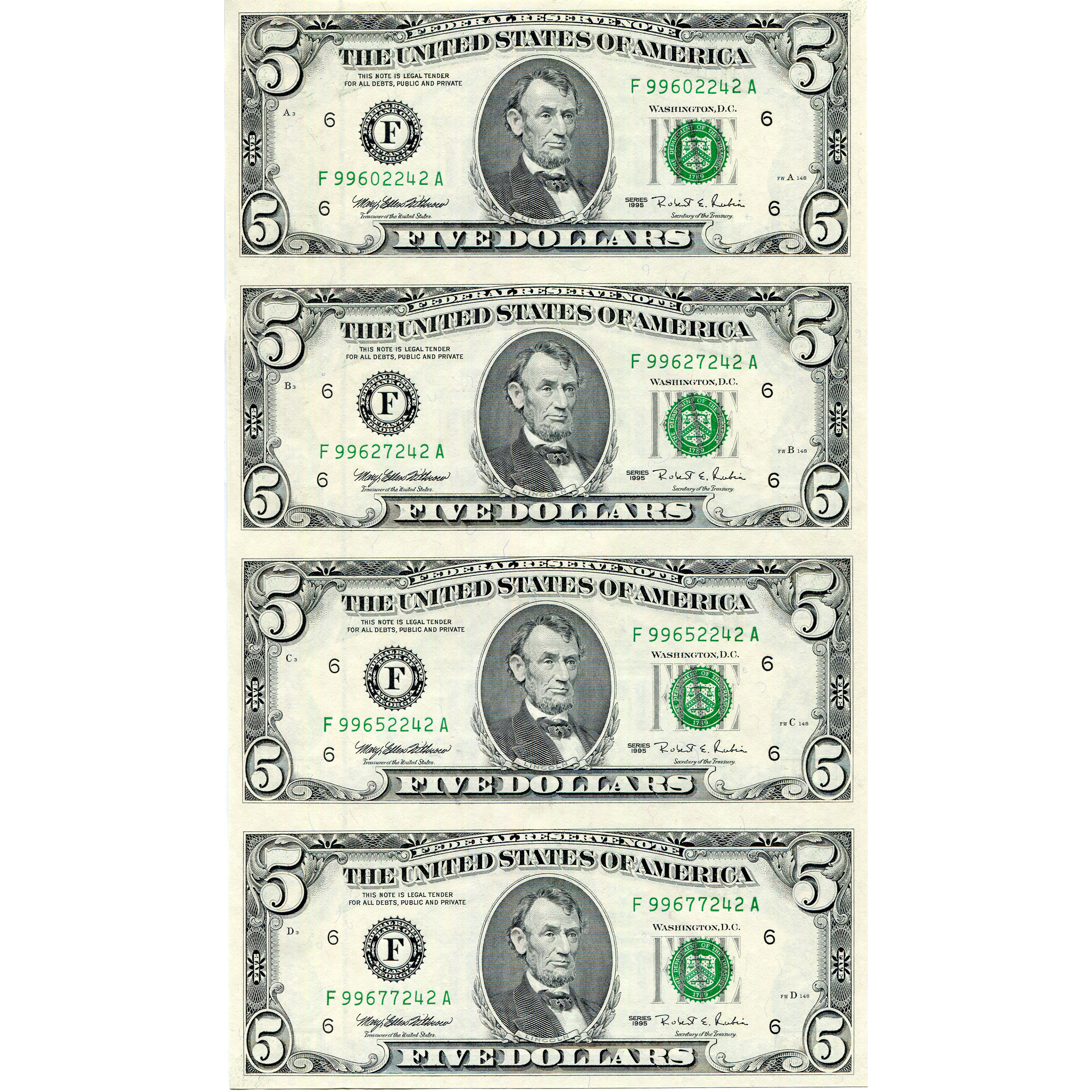 $5 Uncut Currency Sheets