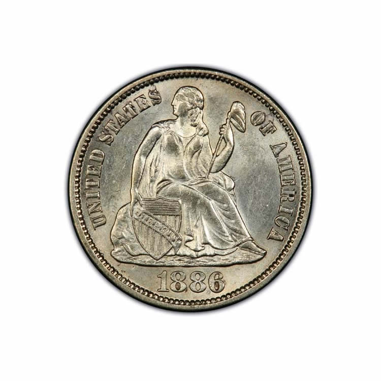 Uncirculated and Certified Seated Liberty Dimes