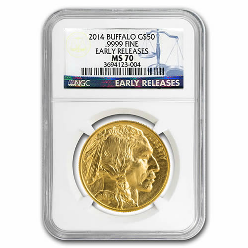 Certified Uncirculated Gold Buffalo One Ounce 2014 MS70 NGC Early Release