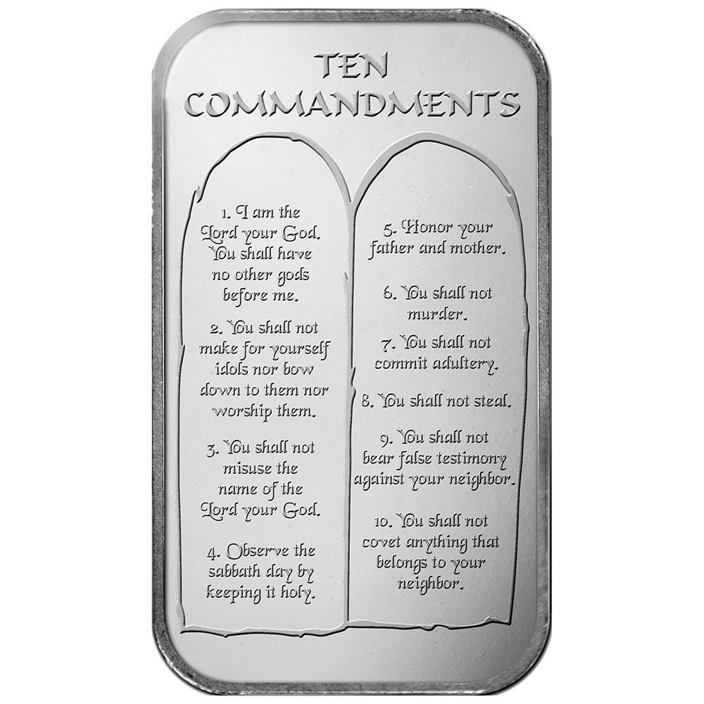 Ten Commandments .999 Silver 1oz Bar
