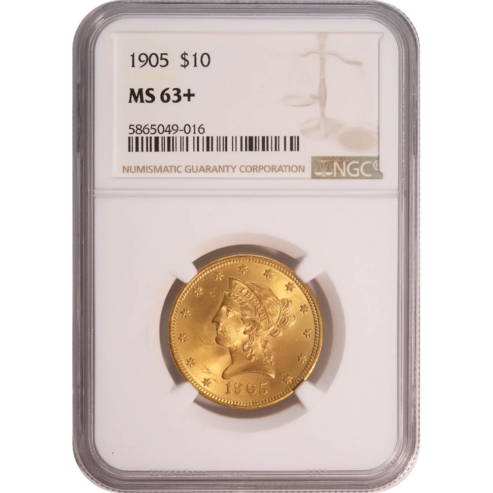 Certified US Gold $10 Liberty 1905 MS63+ NGC