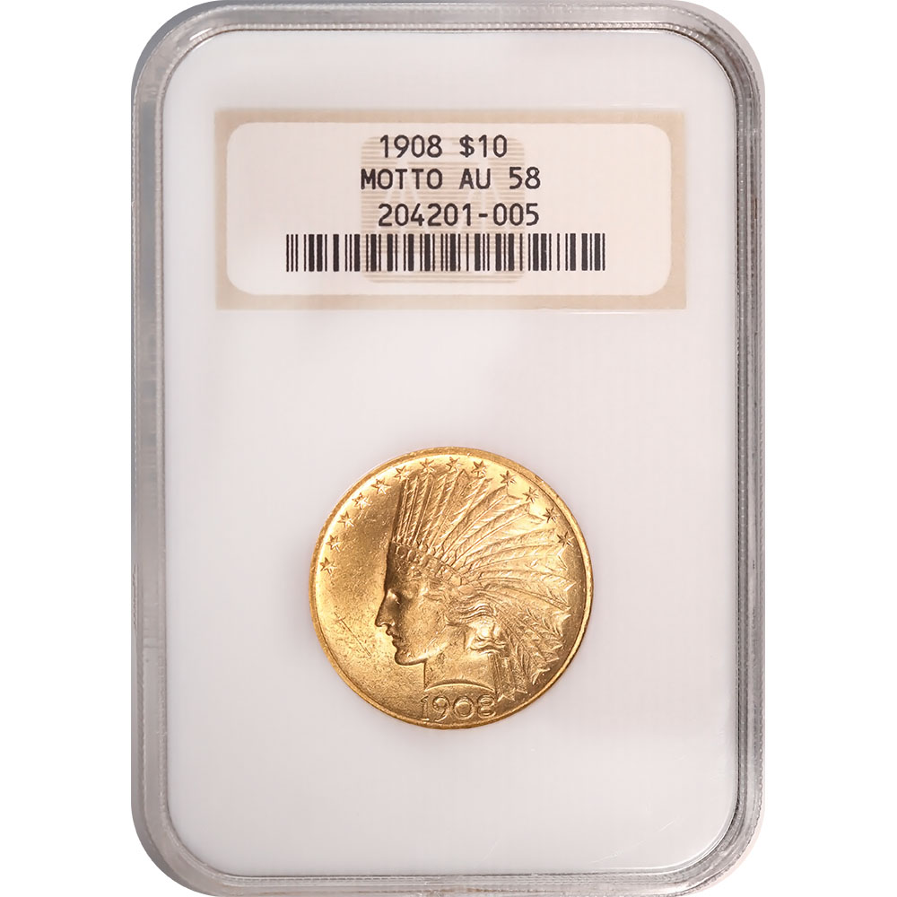 Certified US Gold $10 Indian 1908 Motto AU58 NGC