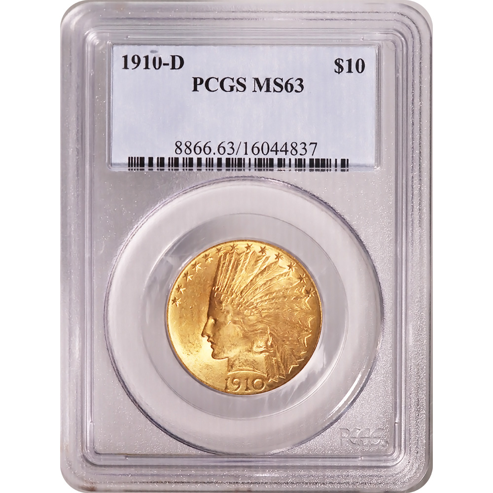 Certified US Gold $10 Indian 1910-D MS63 PCGS
