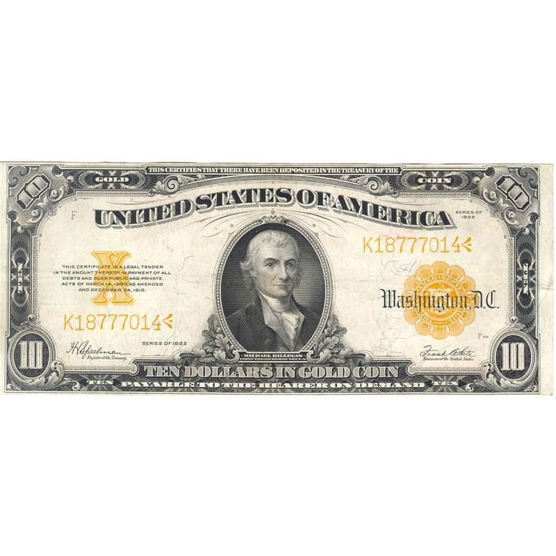 1922 $10 Gold Certificate XF