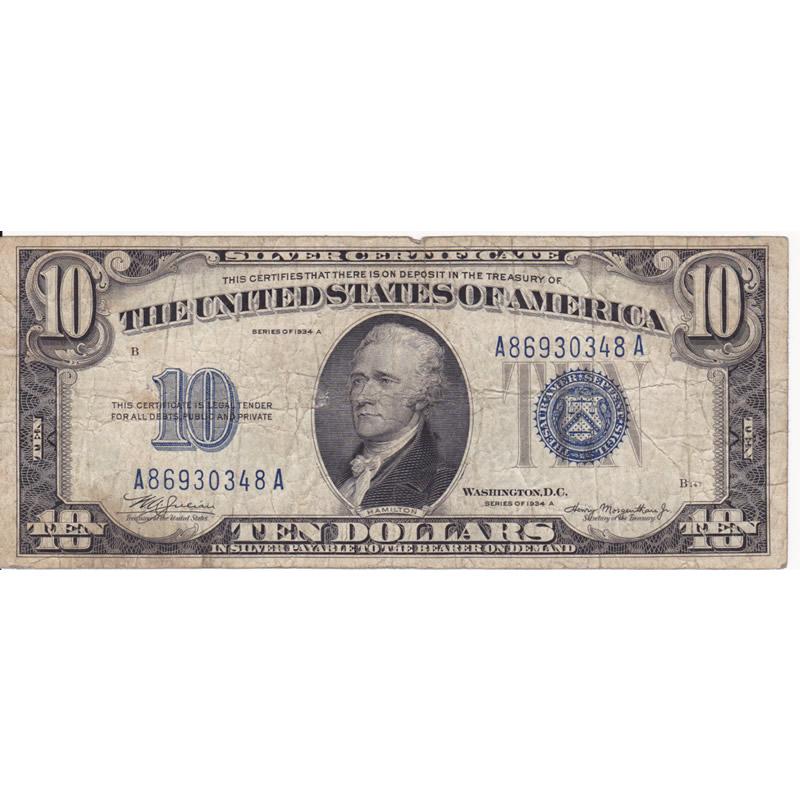 1934A $10 silver certificate F-VF