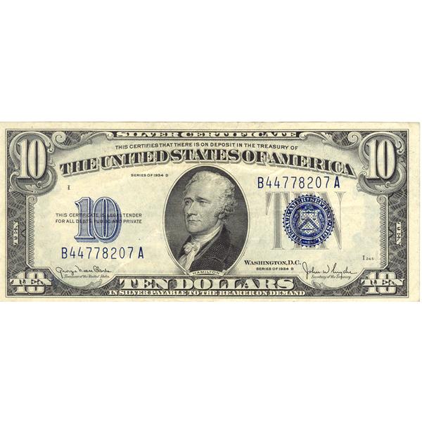 1934D $10 silver certificate XF-AU