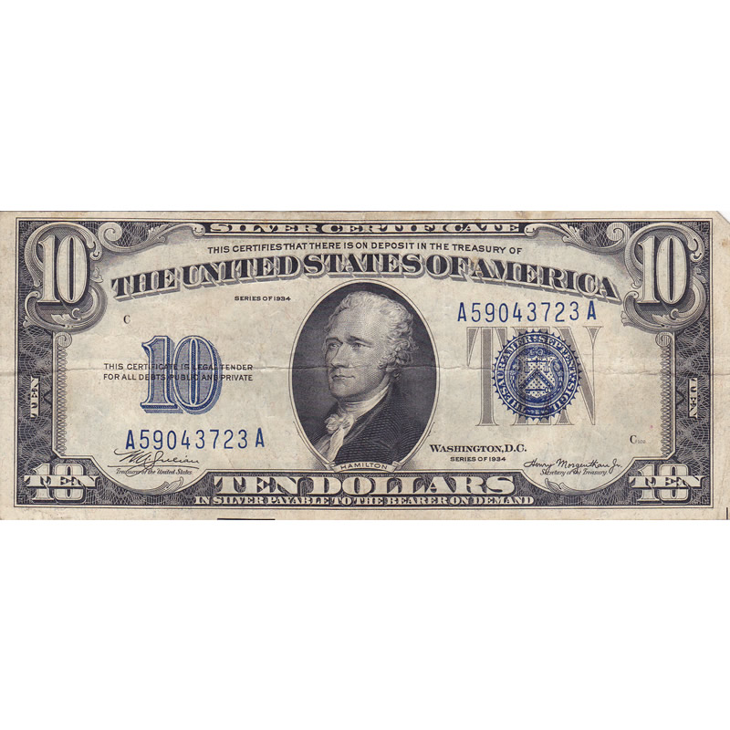1934 $10 Silver Certificate F-VF
