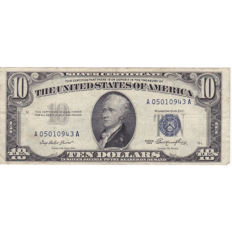 1953 $10 Silver Certificate F-VF