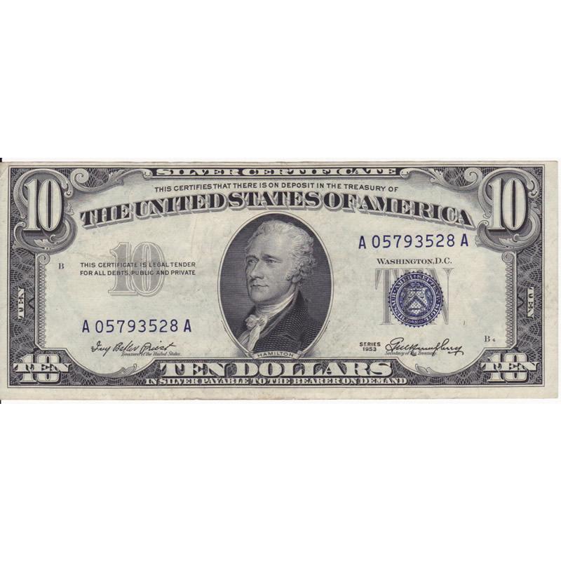 1953 $10 Silver Certificate XF-AU
