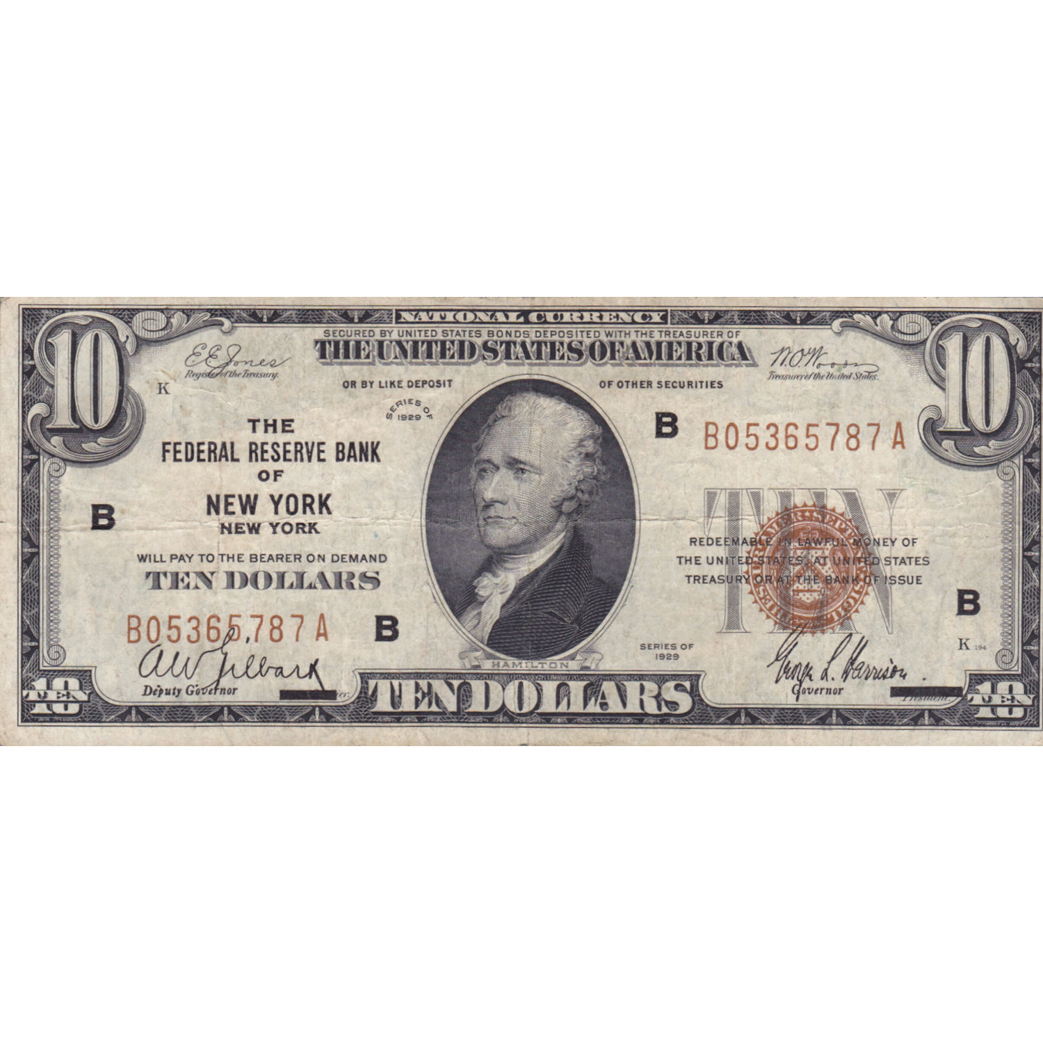 1929 $10 Federal Reserve Note New York NY F-VF