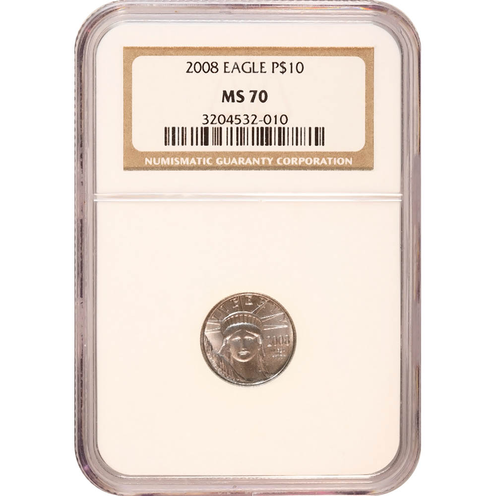 Certified Platinum American Eagle 2008 Tenth Ounce MS70 NGC