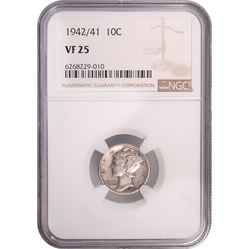 Certified Mercury Dime 1942/41 VF25 NGC