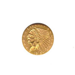 Early Gold Bullion $2.5 Indian Uncirculated