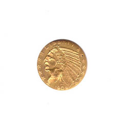 Early Gold Bullion $2.5 Indian Almost Uncirculated