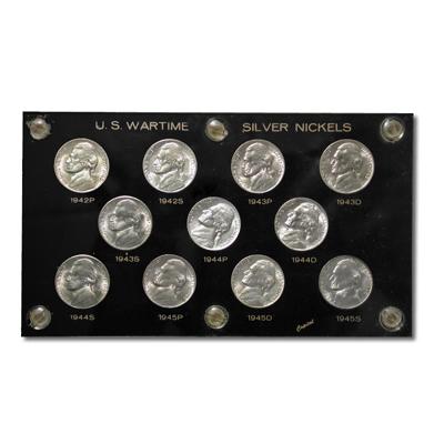 Uncirculated Wartime Nickel Set 1942-1945 (11pcs)
