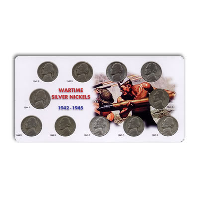Circulated War Nickel Set 1942-1945 Estate holder
