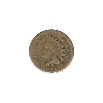Indian Head Cent 1860 Round Bust G-VG