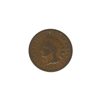 Indian Head Cent 1867 G-VG