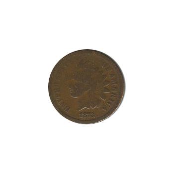 Indian Head Cent 1873 Open 3 G-VG