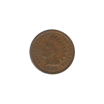 Indian Head Cent 1886 Type I G-VG