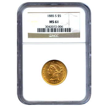 Certified US Gold $5 Liberty MS61 (Dates Our Choice) PCGS or NGC
