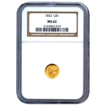 Certified US Gold $1 Liberty MS62 type 1 (Dates Our Choice) PCGS or NGC