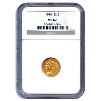Certified US Gold $2.5 Indian MS62 (Dates Our Choice) PCGS or NGC