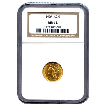 Certified US Gold $2.5 Liberty MS62 (Dates Our Choice) PCGS or NGC