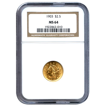 Certified US Gold $2.5 Liberty MS64 (Dates Our Choice) PCGS or NGC