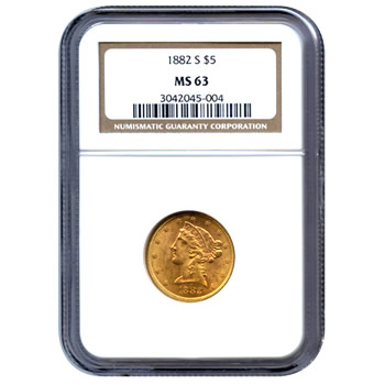 Certified US Gold $5 Liberty MS63 (Dates Our Choice) PCGS or NGC