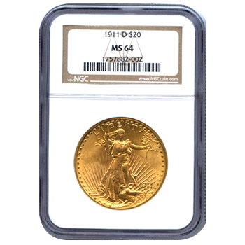 Certified $20 St Gaudens MS64 (Dates Our Choice) PCGS or NGC