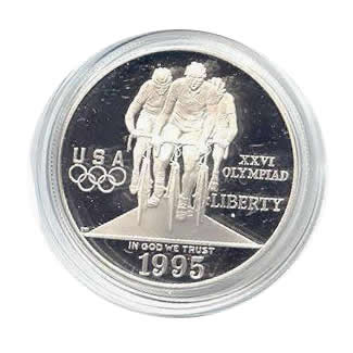 US Commemorative Dollar Proof 1995-P Cycling
