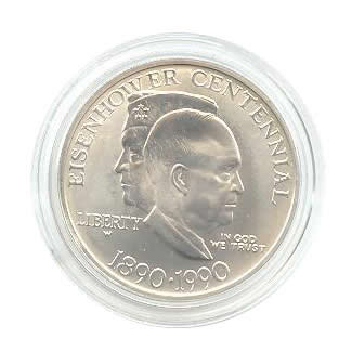 US Commemorative Dollar Uncirculated 1990-W Eisenhower