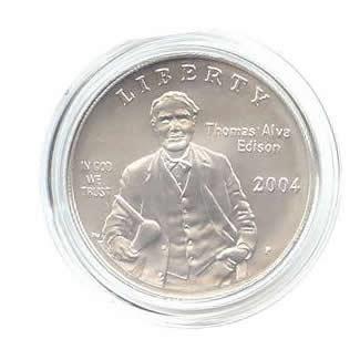 US Commemorative Dollar Uncirculated 2004-P Thomas Edison