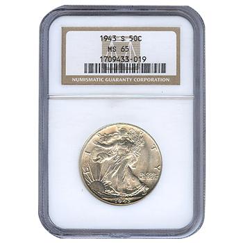 Certified Walking Liberty Half Dollar 1943-S MS65 NGC