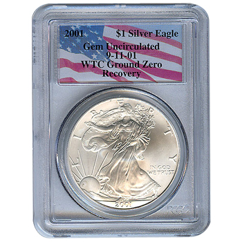 Certified Silver Eagle WTC Ground Zero Recovery 2001 Gem Unc PCGS