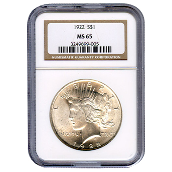 Certified Peace Silver Dollar 1922 MS65 NGC