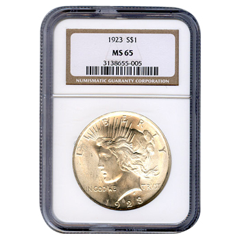 Certified Peace Silver Dollar 1923 MS65 NGC