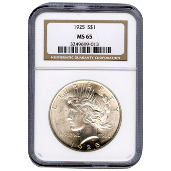 Certified Peace Silver Dollar 1925 MS65 NGC