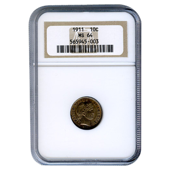 Certified Barber Dime 1911 MS64 NGC