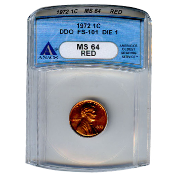 Certified Lincoln Cent 1972 Double Die DDO FS-101 Die 1 MS64 RD ANACS