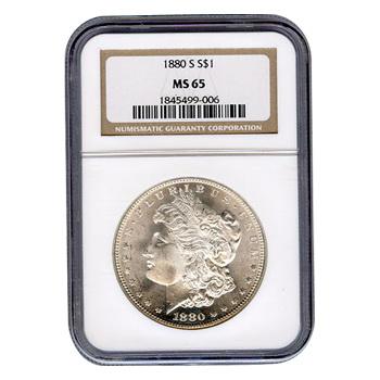 Certified Morgan Silver Dollar 1880-S MS65 NGC