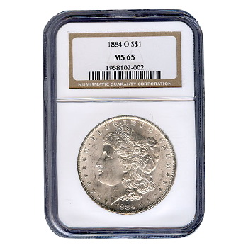Certified Morgan Silver Dollar 1884-O MS65 NGC